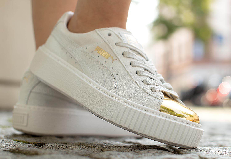 Puma Suede Platform Gold W Chaussures GoldStar White