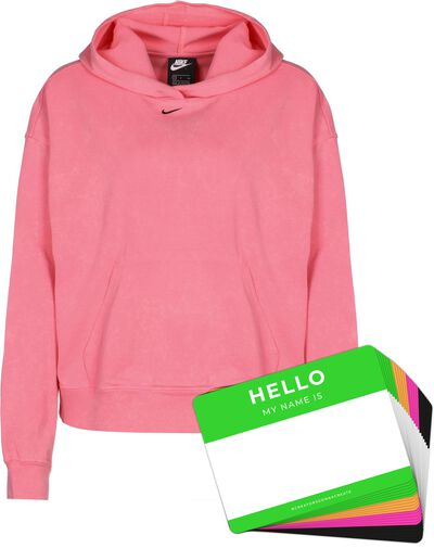 Nike Wash Hoodie + HELLO Neon-Stickerpack   Pink Pack
